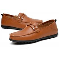 Buy cheap Moccasin Toe Top Loafer Slip On Shoes Grain Leather Upper With Leather Knot Buckle product
