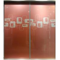 Buy cheap CY-ZG1110A Frosted Glass Closet Sliding Door With Aluminum Frame, Red Bedrooms Wardrobe Sliding Doors Factory product
