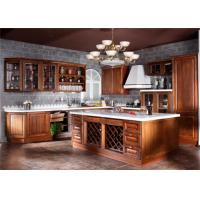 Buy cheap Contemporary L Shaped Kitchen Cabinets With Glass Door And Red Paint Island product