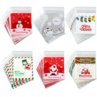 Buy cheap PE SELF ADHESIVE CLEAR CHRISTMAS CELLOPHANE TREAT BAGS FOR PACKAGING CANDY OR COOKIE product