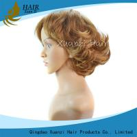 China 8 Inche Golden Yellow Model Model Wigs , Durable Short Human Hair Wigs on sale