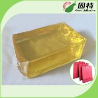 Buy cheap Yellow and semi-transparent PackagingBlock Synthetic polymer resin Hot Melt Glue For handbag making in bottom (backing). product