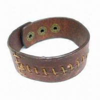 Buy cheap Leather bracelet, non-toxic, customized logos are accepted product