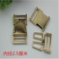 Buy cheap 1 inch Hardware gold metal side quick release curved buckles for pet dog collar product