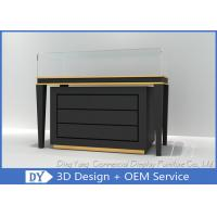 Buy cheap Black Commercial Gold Shop Glass Counter with MDF Wood + Tempered Glass + Lights product