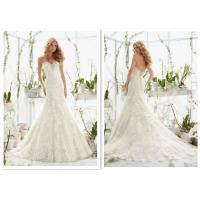 Custom noble style off white a line brides wedding dress with lace wrapping flower