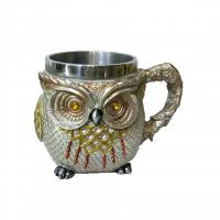 Buy cheap 400ml Owl statue polyresin double side stainless steel mug product