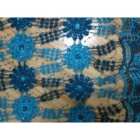 Buy cheap 51/52 Blue Embroidered Lace Fabric Stretch For Ladies Dress product
