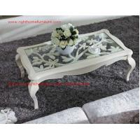 Buy cheap Neoclassical style Coffee table in smart flower craft with tempered glass top and Teatable set with wood drawers product