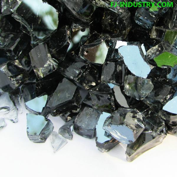 Broken Glass Fire Pit : Black tempered broken glass for outdoor fire pit