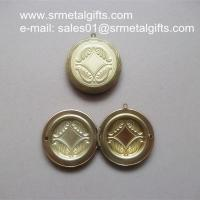 """China 2"""" brass locket box compact, openable 2 inch solid brass photo locket compacts wholesale"""
