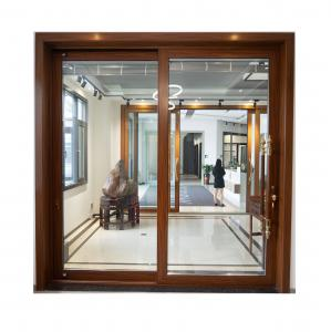 Buy cheap Two Track Aluminum Sliding Doors For Balcony Wood Grain 1.5mm Thickness Fireproofing product