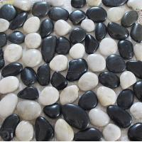 Buy cheap White Mixed Black Pebble Mosaic,Polished Cobble Stone On Mesh,River Stone Mosaic Sheet,Meshed Pebbles product