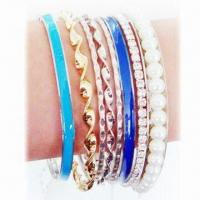 Buy cheap Fashionable Bracelets with Rhinestones, Made of Alloy, Available in Various Designs product
