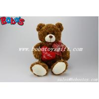 "Buy cheap 12""Dark Brown Stuffed Toy Plush Cuddly Bear With Red Ribbon And Heart Pillow product"