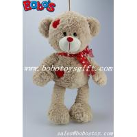 Quality Beige Plush Softest Cuddly Stuffed Teddy Bear With Red Heart Patch for sale