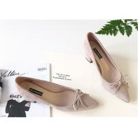 Quality Low Cut Pink Ladies Pointed Toe Shoes , Womens Mid Heel Shoes With Bowknot for sale