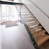 Buy cheap Customized Straight Open Riser Double Stringers l Shape Wood Tread Straight Staircase product