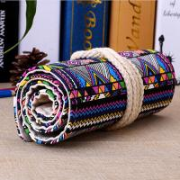 Buy cheap Roll - Up Canvas Student Pencil Pouches , Pencil Roll Case Cotton Rope Closure product