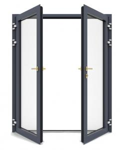 Buy cheap Double Tinted Glass Aluminum Swing Doors Flucarbon With Fiberglass Flyscreen product