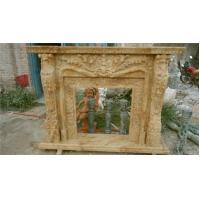Buy cheap Carved Flowers, Beige Simple Marble Fireplace mental, ethanol beige fireplace product