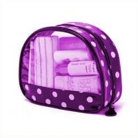 Buy cheap Printed Transparent Waterproof Purple Pvc Makeup Bags For Travelers product