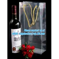 Buy cheap Handle Wine Bottle Paper Bags With Two Side Logo,transparent wine gift pp bag, plastic bag with handles bagplastics pac product