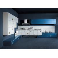 White Wood Grain Lacquer Kitchen Cabinets , Tall Kitchen Island Cabinets
