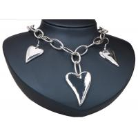 China Heart Artificial Silver Earrings And Necklace Sets Costume Jewelry With Chian wholesale