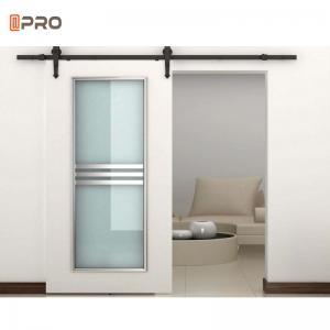Buy cheap White Interior Hardware Glass Bathroom Barn Doors Sliding Barn Door Kit product