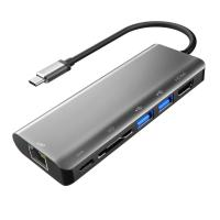 Buy cheap Aluminum Type C Adapter with HDMI Port Gigabit Ethernet Port USBC Power Delivery 2 USB 3.0 Ports SD Card Reader for mac product