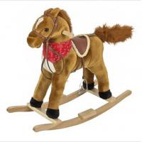 China Brown Plush Rocking Toy Toddler Rocking Horse With Sound , 68cm Size on sale