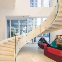 Buy cheap European-Style Stainless Steel Glass Curved Staircase Arc Stairs product