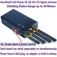 Buy cheap 4 Antenna Handheld Cell Phone 2G 3G 4G LTE Signal Jammer Blocker W/ Single Control Switch product