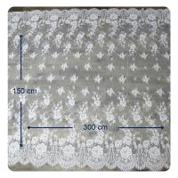 China Eco - Friendly Dyeing Wedding Dress Chantilly Lace Fabric , Ivory Repeated Floral on sale