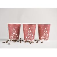 Buy cheap Recyclable 12oz Disposable To Go Coffee Cups With Plastic Cover , Red Color product