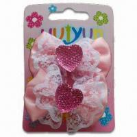 Buy cheap Hair BP Clips, OEM Orders are Welcome, Made of Metal and Ribbon, Customized Designs are Accepted product