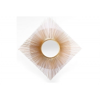 Quality Round Mirrored Wall Art Gold Sunburst Square Metal Frame Modern Home Decoration for sale