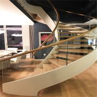 Buy cheap Hot Sale Wood and Glass Open Riser Curved Staircase For Building product