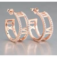 Buy cheap Chic 925 Sterling Silver CZ Hoop Earrings Stud Earrings with Rose Gold Plated JSER023 product