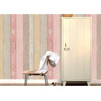 Buy cheap Colorful Wood Embossed Vinyl Wallpaper With Foam Surface Treatment , Vertical Stripe Type from wholesalers