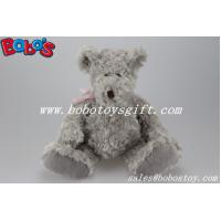 Buy cheap Grey Plush Teddy Bear With Big Tummy and Pink Ribbon product