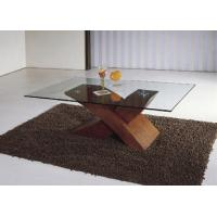 Buy cheap X shape wood and glass tea coffee table 8mm temper glass MDF attached papers A034 product
