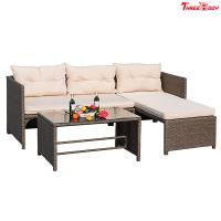 Buy cheap 3 Pieces Rattan Sectional Outdoor Lounge Sofa Sets Clearance UV Resistant product