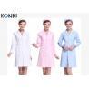 Short Sleeve White / Pink Nurse Uniform Dress With Long Style Coat