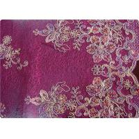 Buy cheap Purple Home Textile Embroidered Fabrics High End Apparel Fabric product