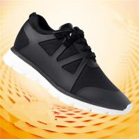 Men's Elevator Sneakers Black Breathable Running Shoes Lace Up