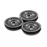 Buy cheap Flanged Ceramic Cable Pulley Wheels Black Color With Bearing , Plastic Body product