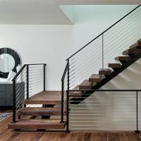 Buy cheap Customized Modern Teak Stair Treads Mono Steel Stringer Wood Staircase product