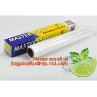 Buy cheap Eco friendly non toxical soft pe pvc food cling wrap on sale, clear food film food grade PE plastic wrap product